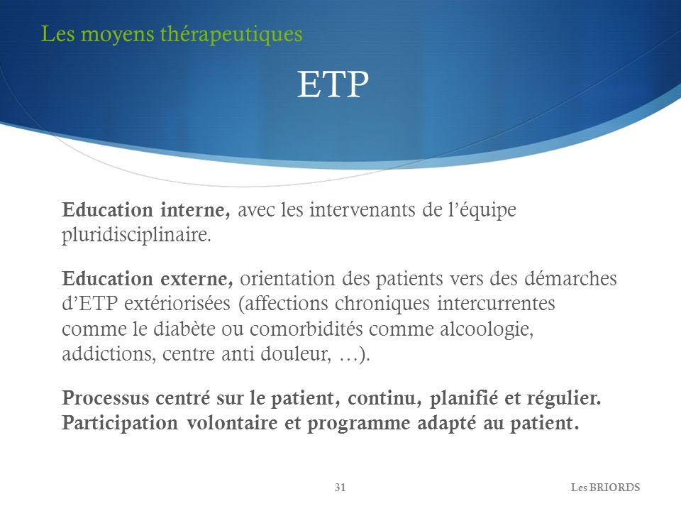 Education interne, avec les intervenants de léquipe pluridisciplinaire. Education externe, orientation des patients vers des démarches dETP extérioris