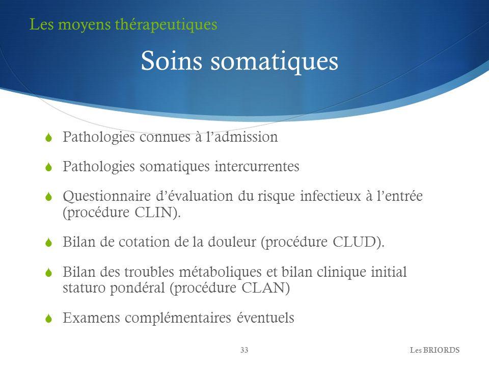 Pathologies connues à ladmission Pathologies somatiques intercurrentes Questionnaire dévaluation du risque infectieux à lentrée (procédure CLIN). Bila