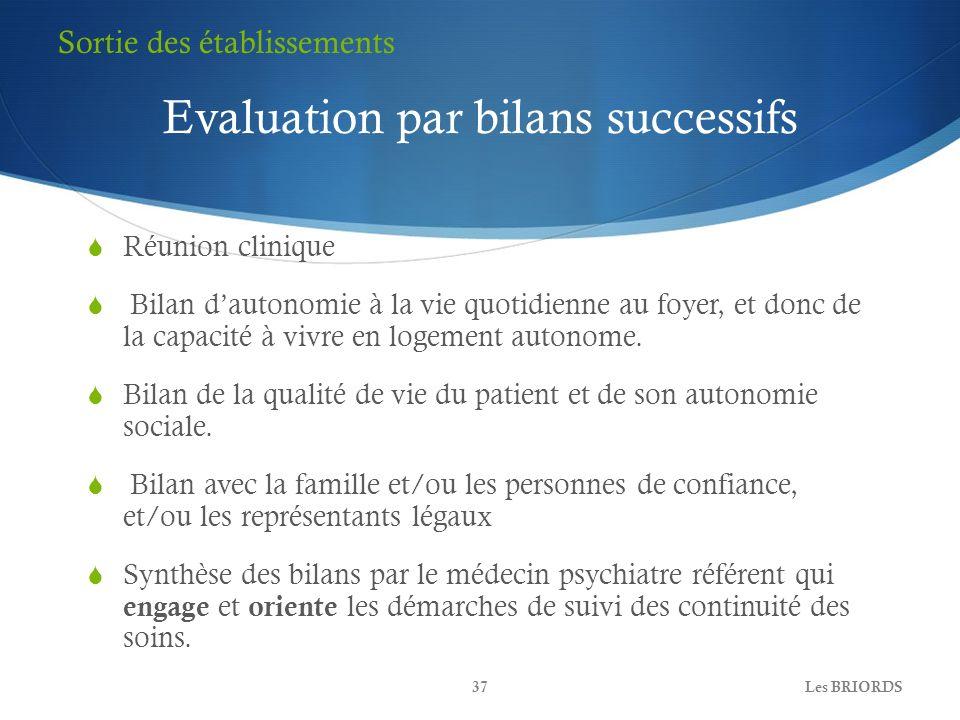 Evaluation par bilans successifs Réunion clinique Bilan dautonomie à la vie quotidienne au foyer, et donc de la capacité à vivre en logement autonome.