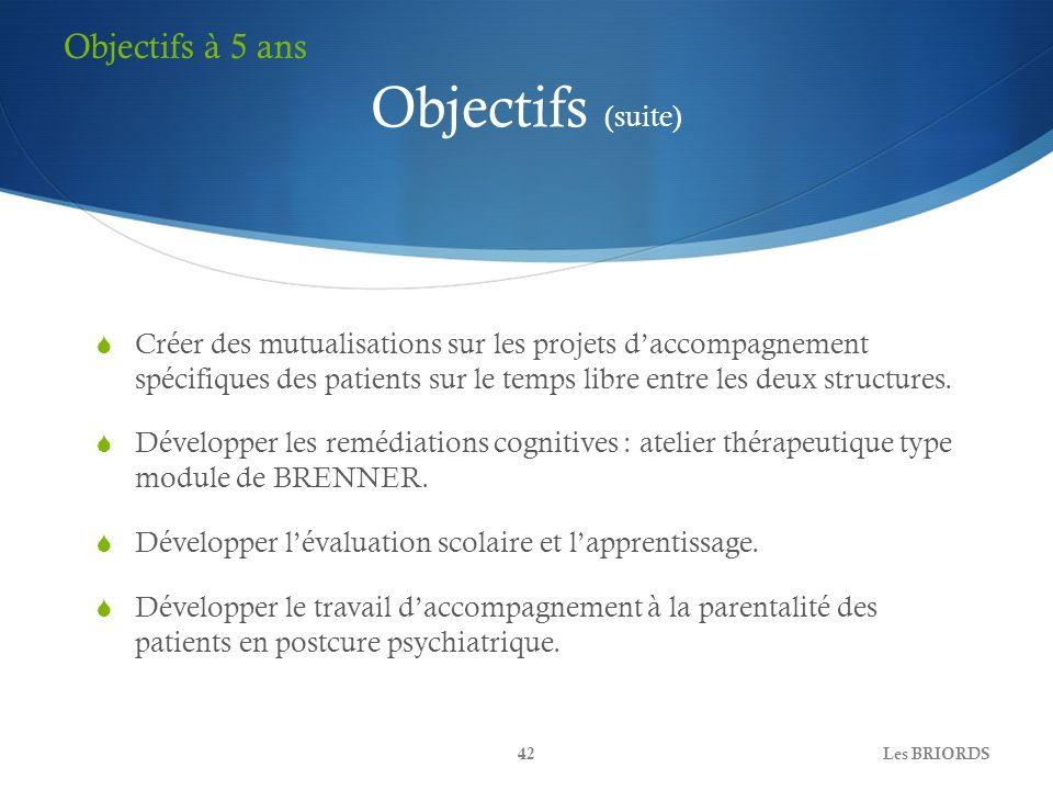 Objectifs (suite) Créer des mutualisations sur les projets daccompagnement spécifiques des patients sur le temps libre entre les deux structures. Déve