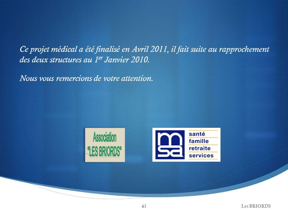 Les BRIORDS43 Ce projet médical a été finalisé en Avril 2011, il fait suite au rapprochement des deux structures au 1 er Janvier 2010. Nous vous remer