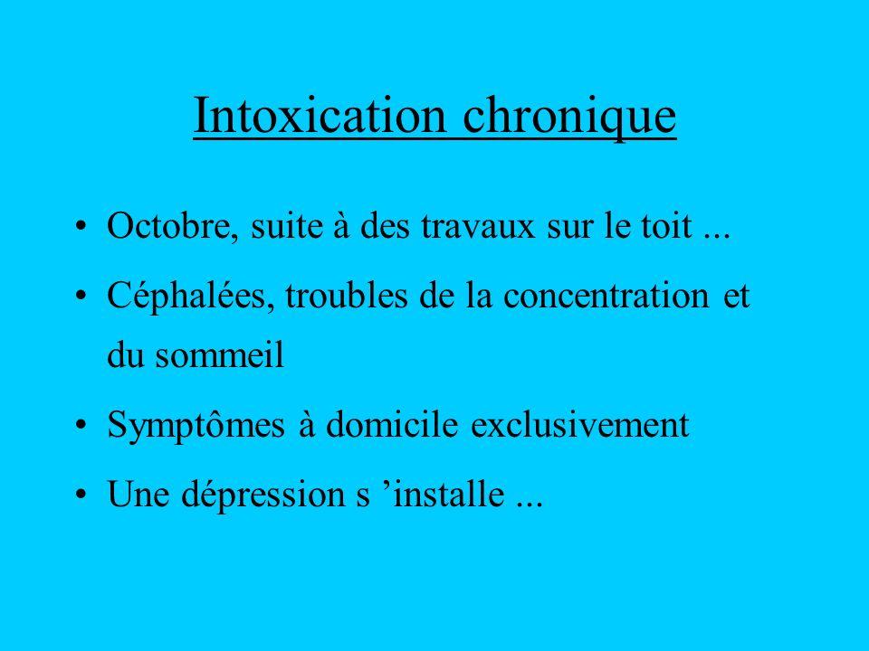 Intoxication chronique Octobre, suite à des travaux sur le toit... Céphalées, troubles de la concentration et du sommeil Symptômes à domicile exclusiv