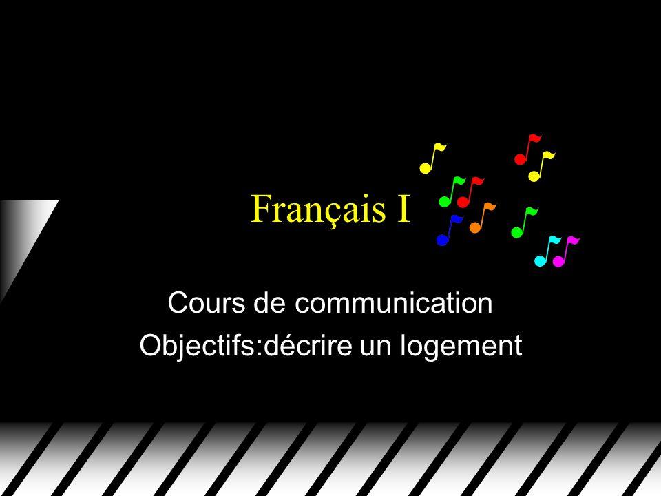 Français I Cours de communication Objectifs:décrire un logement