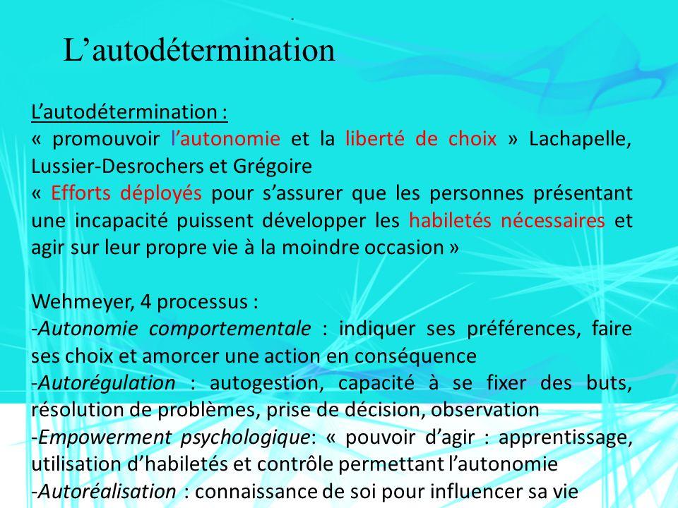 Lautodétermination Lautodétermination : « promouvoir lautonomie et la liberté de choix » Lachapelle, Lussier-Desrochers et Grégoire « Efforts déployés