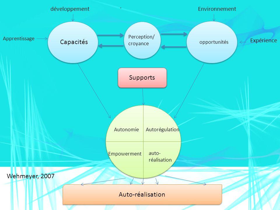 Apprentissage Supports Capacités développement Expérience Environnement Perception/ croyance opportunités Autonomie Autorégulation Empowerment auto- r