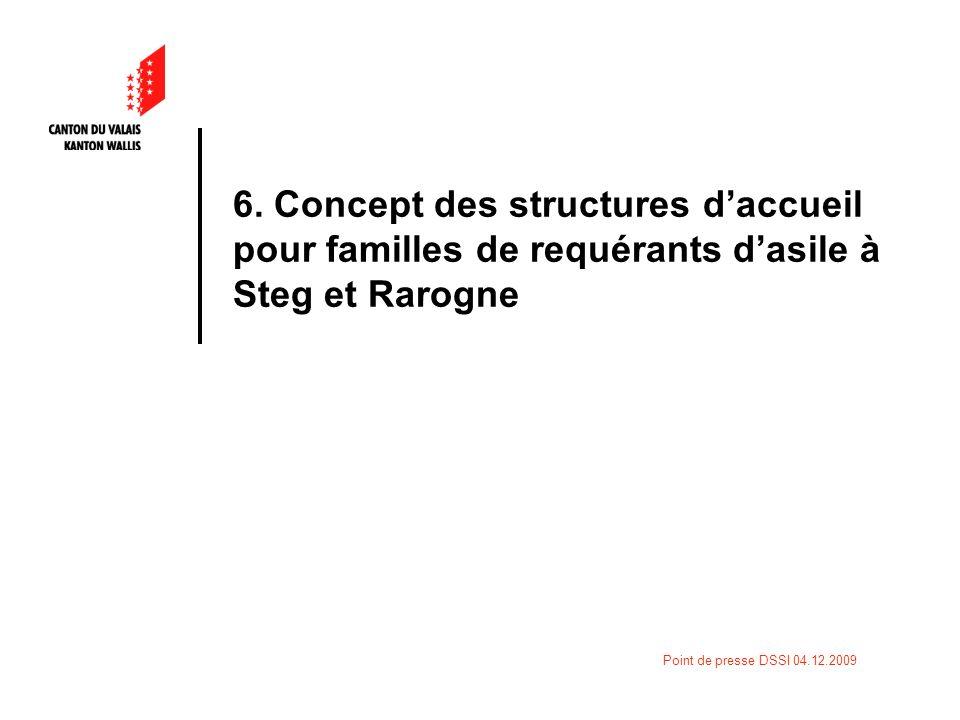 Point de presse DSSI 04.12.2009 6. Concept des structures daccueil pour familles de requérants dasile à Steg et Rarogne