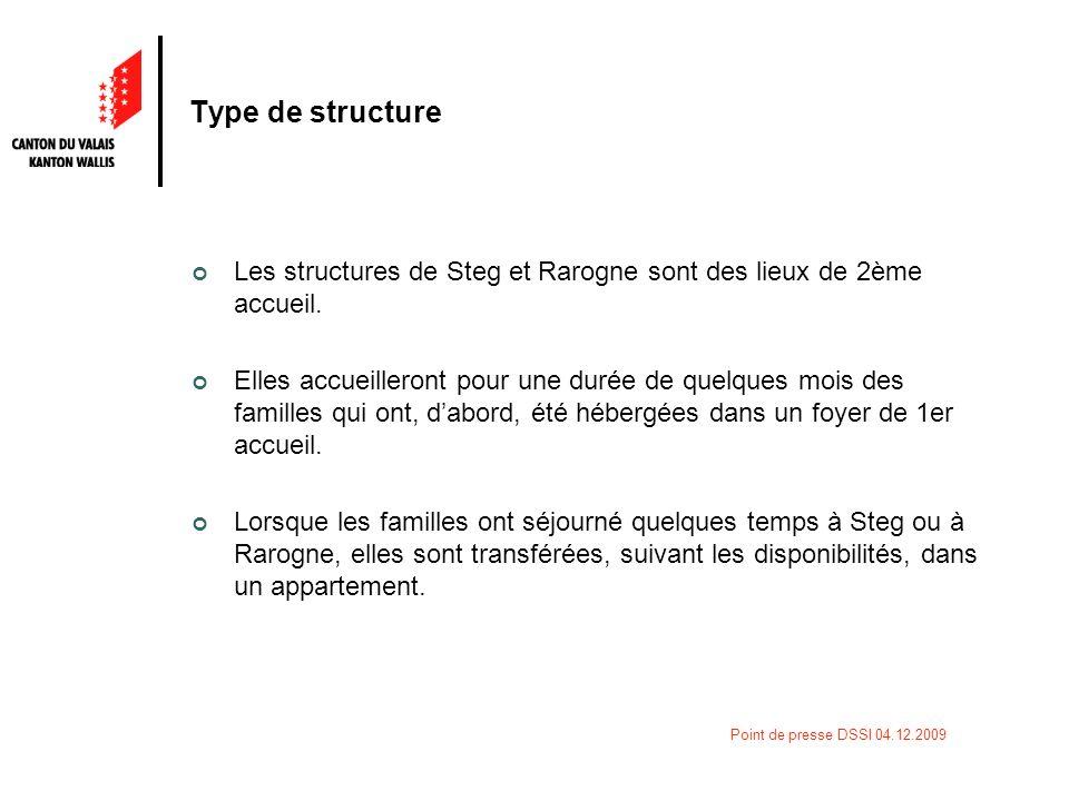 Point de presse DSSI 04.12.2009 Type de structure Les structures de Steg et Rarogne sont des lieux de 2ème accueil. Elles accueilleront pour une durée