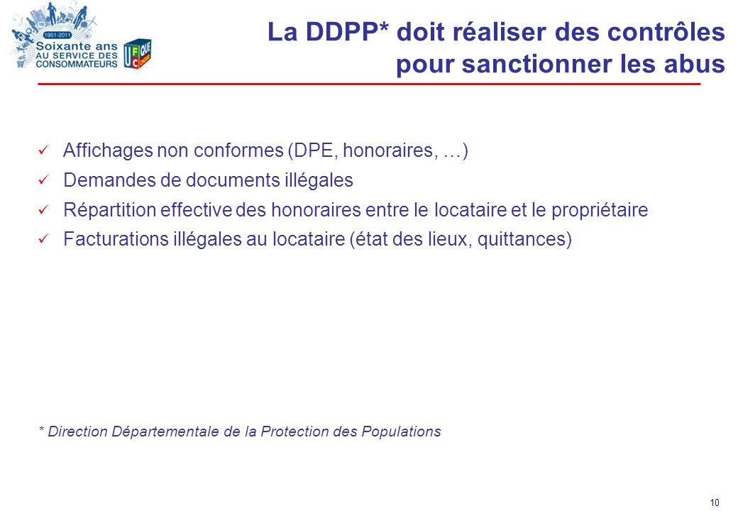 10 La DDPP* doit réaliser des contrôles pour sanctionner les abus Affichages non conformes (DPE, honoraires, …) Demandes de documents illégales Répart