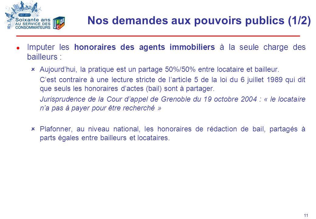 11 Nos demandes aux pouvoirs publics (1/2) Imputer les honoraires des agents immobiliers à la seule charge des bailleurs : Aujourdhui, la pratique est