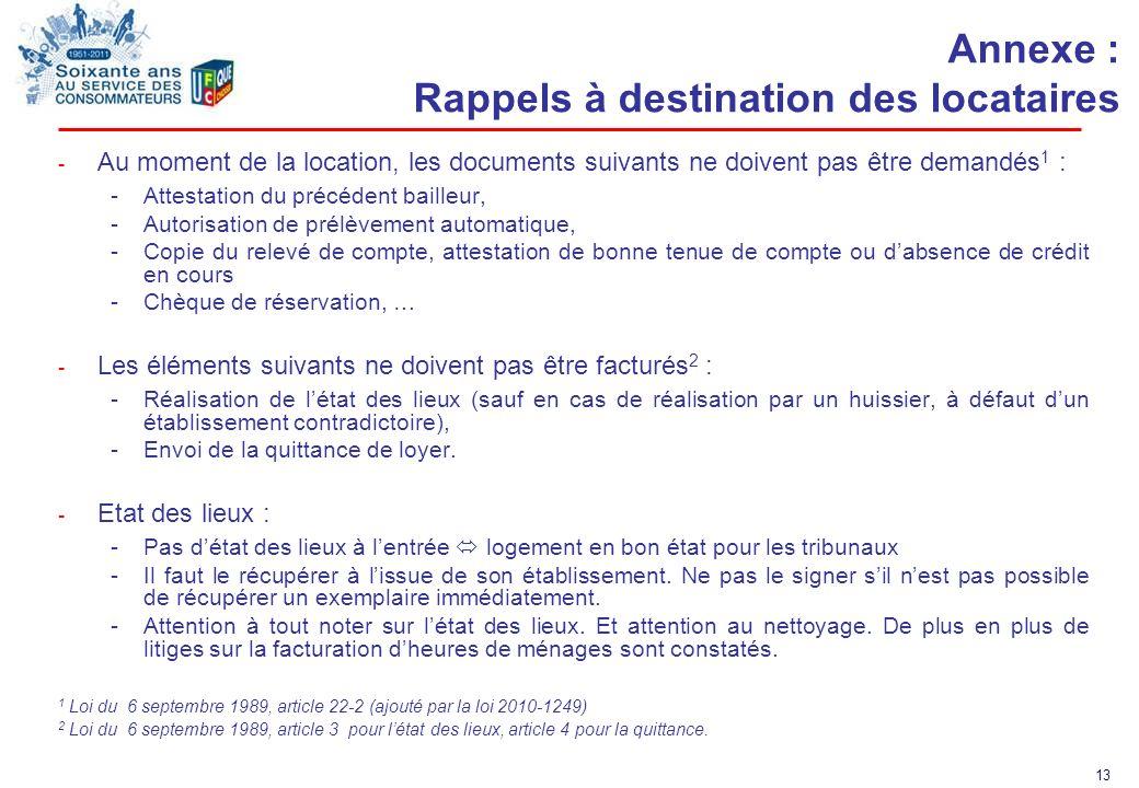 13 Annexe : Rappels à destination des locataires - Au moment de la location, les documents suivants ne doivent pas être demandés 1 : -Attestation du p