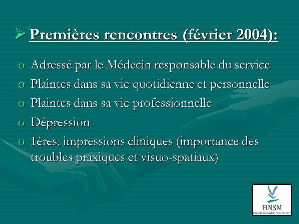 Premières rencontres (février 2004): Premières rencontres (février 2004): oAdressé par le Médecin responsable du service oPlaintes dans sa vie quotidienne et personnelle oPlaintes dans sa vie professionnelle oDépression o1ères.