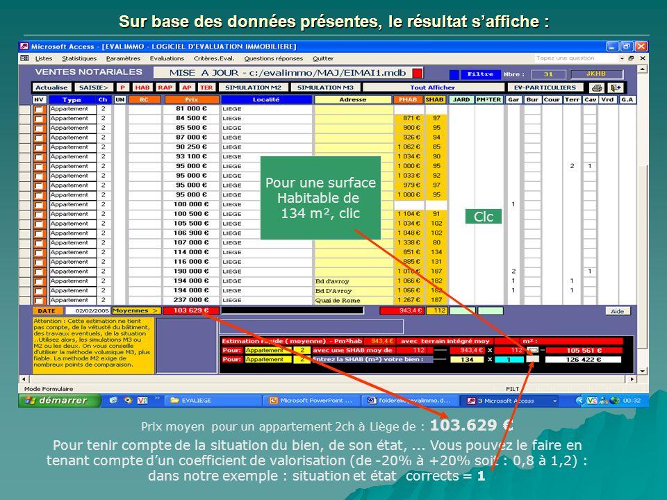 Sur base des données présentes, le résultat saffiche : Prix moyen pour un appartement 2ch à Liège de : 103.629 Par un clic, pour une surface habitable