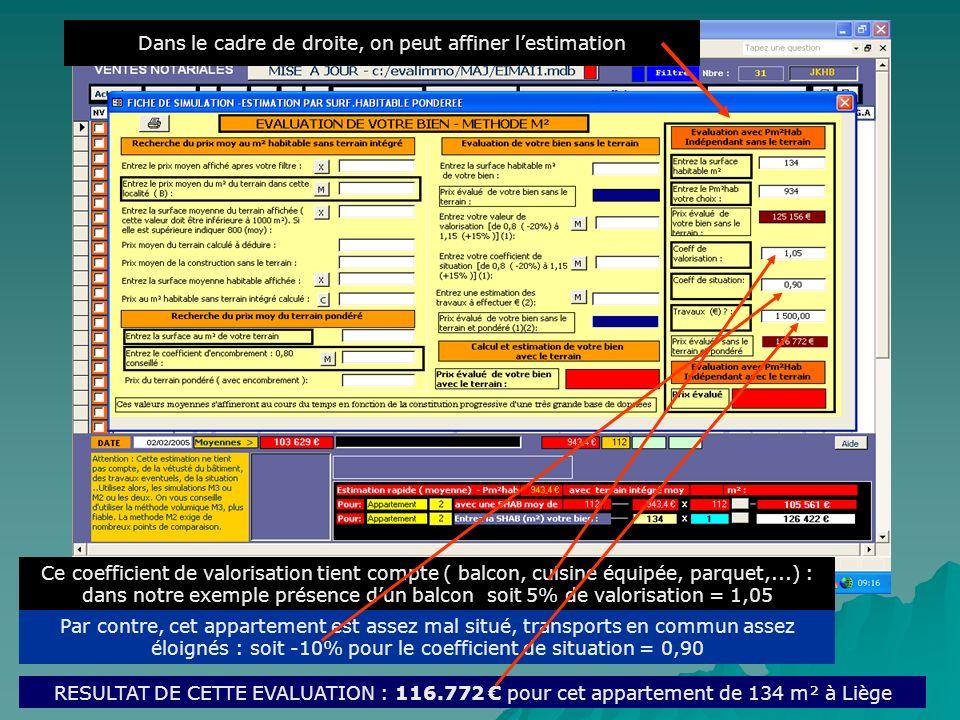 Sur base des données présentes, le résultat saffiche : Prix moyen pour un appartement 2ch à Liège de : 103.629 Clic Pour affiner ce coefficient de val
