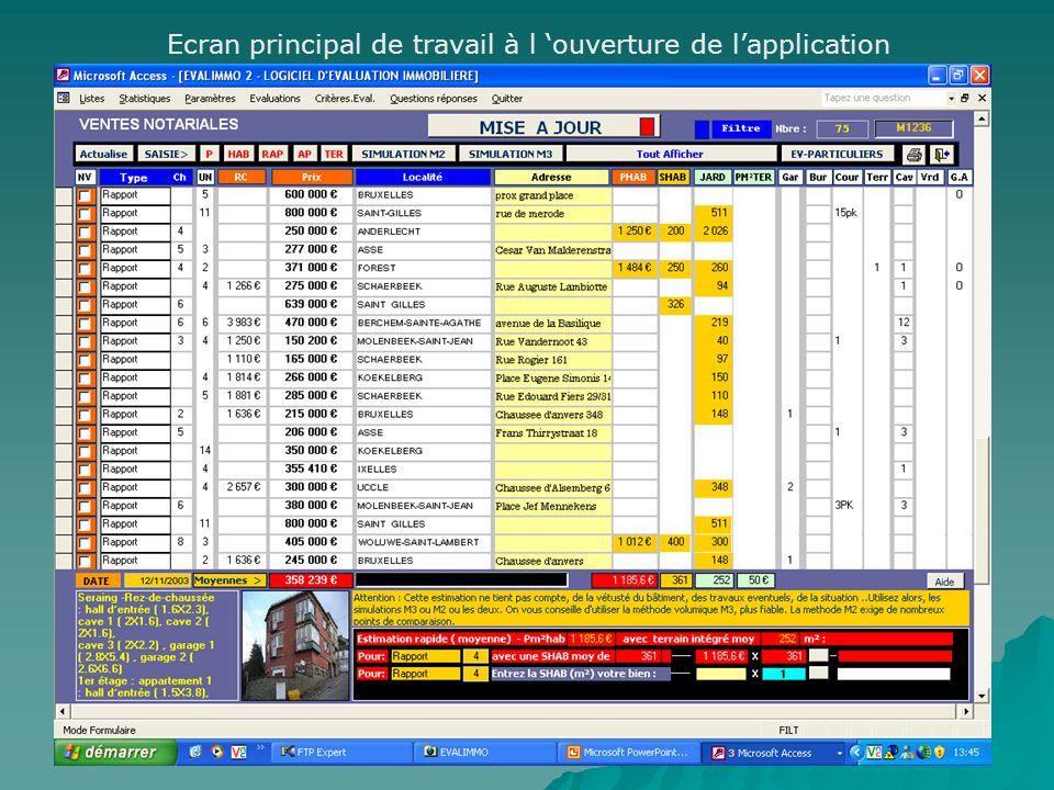 EVALIMM0 Logiciel d évaluation immobilière Logiciel sous Windows - ACCESS ©USD – www.usd.be - Tel : 04/338.48.36 – fax: 04/384.67.71 – Gsm: 0496/621.9