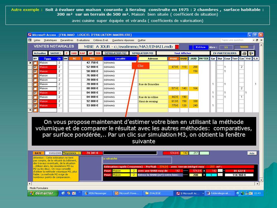 Clic On affiche les moyennes du filtre Prix moyen du m² de terrain à Seraing Saisie de la surface en m² du terrain Saisie du coefficient d encombremen