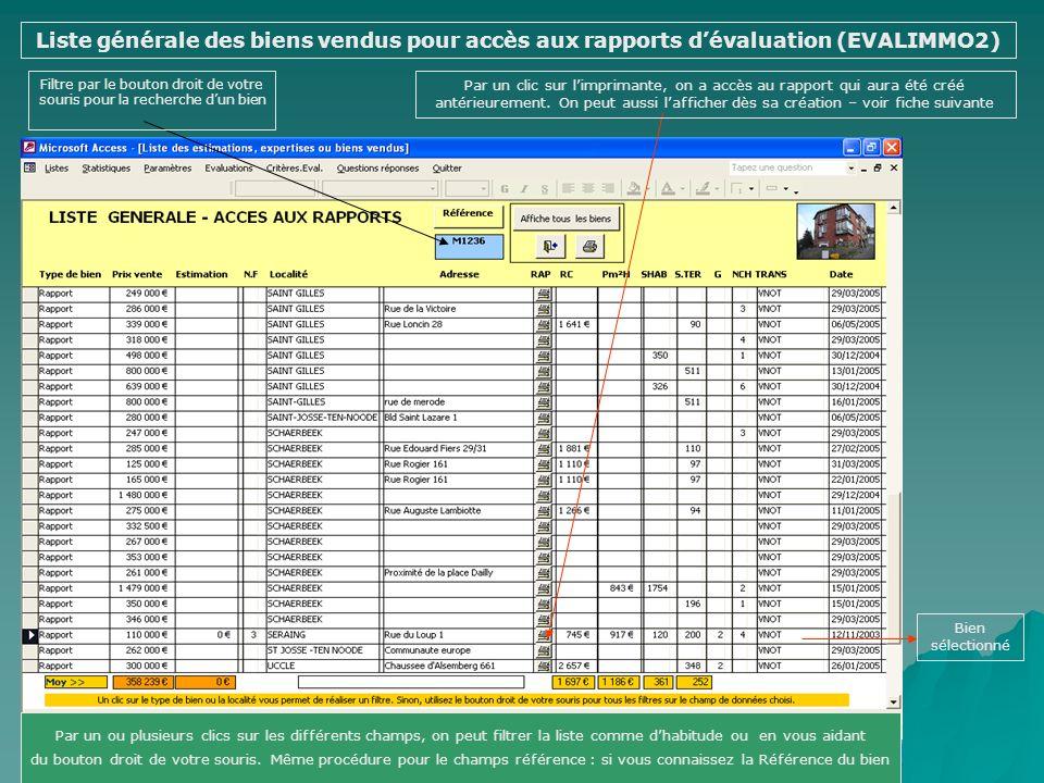 EVALUATION - EDITION DUN RAPPORT (EVALIMMO 2 ) Liste générale des biens vendus pour accès aux rapports dévaluation Evaluation par la méthode Au m² à p