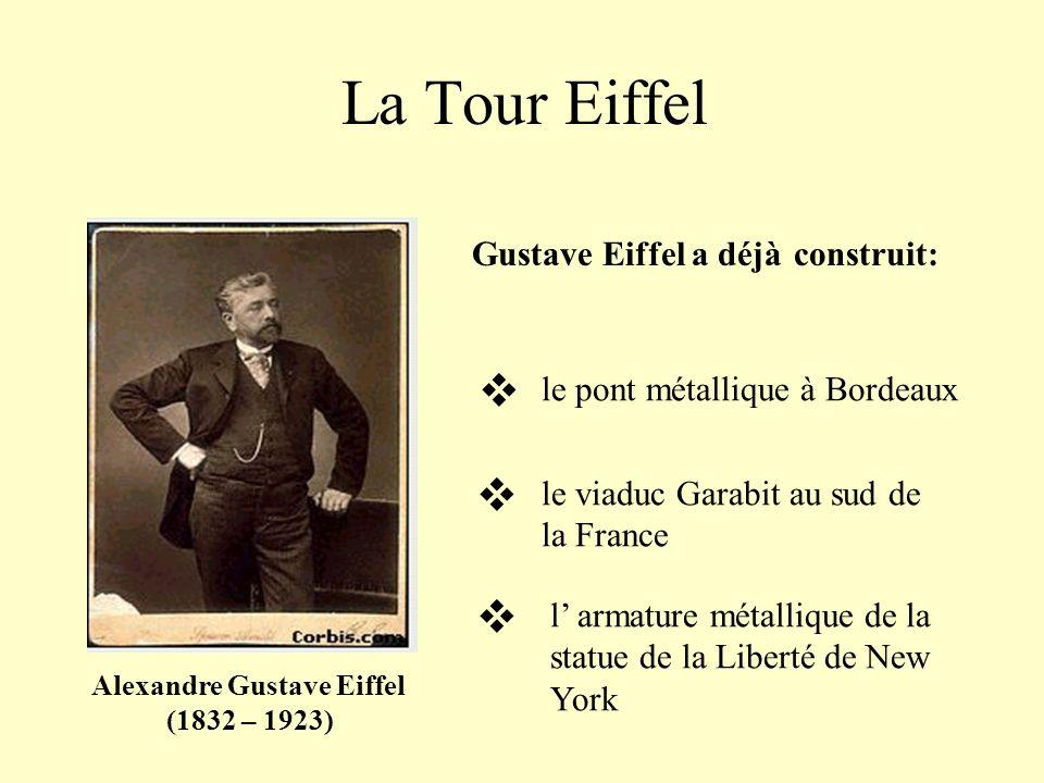 La Tour Eiffel Alexandre Gustave Eiffel (1832 – 1923) Gustave Eiffel a déjàdéjà construit: le pont métallique à Bordeaux le viaduc Garabit au sud de la France l armature métallique de la statue de la Liberté de New York