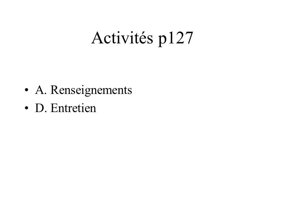 Activités p127 A. Renseignements D. Entretien