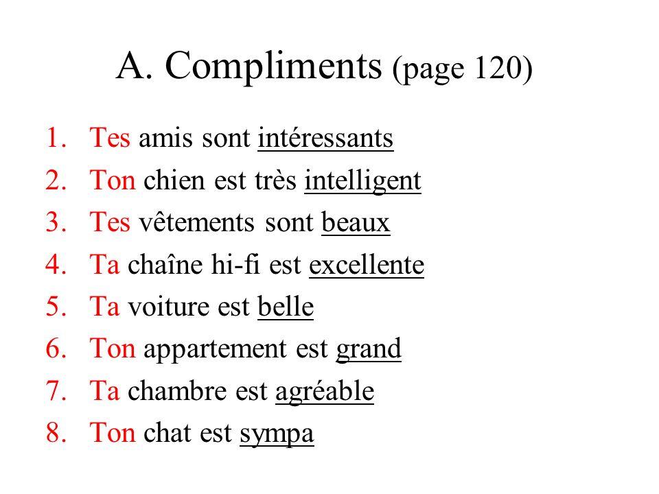 A. Compliments (page 120) 1.Tes amis sont intéressants 2.Ton chien est très intelligent 3.Tes vêtements sont beaux 4.Ta chaîne hi-fi est excellente 5.