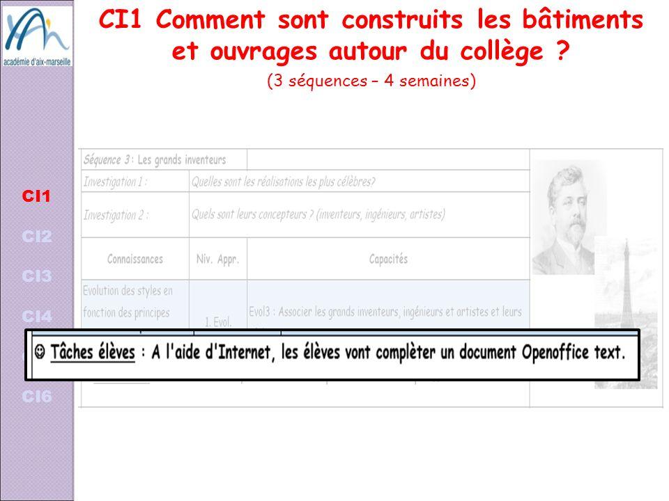 CI1 CI2 CI3 CI4 CI5 CI6 CI1 Comment sont construits les bâtiments et ouvrages autour du collège ? (3 séquences – 4 semaines)