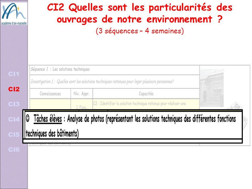 CI2 Quelles sont les particularités des ouvrages de notre environnement ? (3 séquences – 4 semaines) CI1 CI2 CI3 CI4 CI5 CI6
