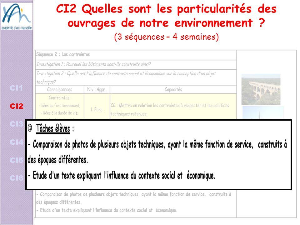 CI1 CI2 CI3 CI4 CI5 CI6 CI2 Quelles sont les particularités des ouvrages de notre environnement ? (3 séquences – 4 semaines)