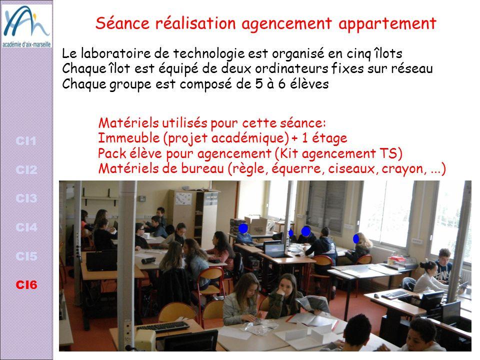 Séance réalisation agencement appartement Matériels utilisés pour cette séance: Immeuble (projet académique) + 1 étage Pack élève pour agencement (Kit