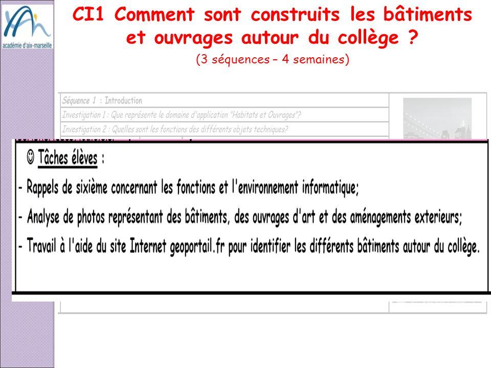 CI1 Comment sont construits les bâtiments et ouvrages autour du collège ? (3 séquences – 4 semaines) CI1 CI2 CI3 CI4 CI5 CI6