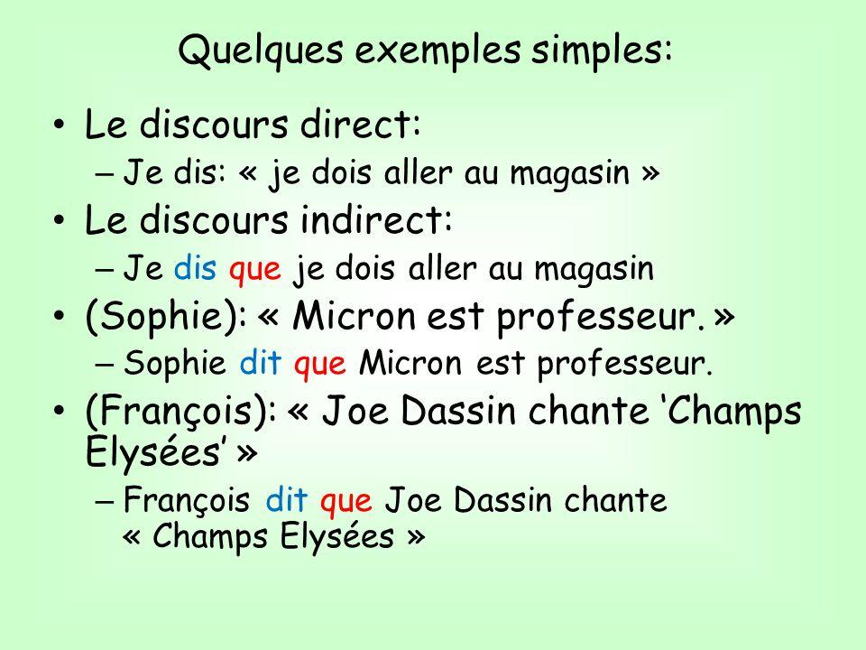 Le discours direct: – Je dis: « je dois aller au magasin » Le discours indirect: – Je dis que je dois aller au magasin (Sophie): « Micron est professeur.
