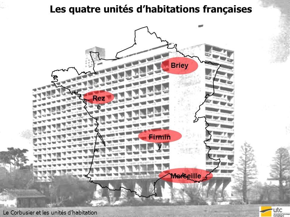 Description des unités : les caractéristiques techniques Le Corbusier et les unités dhabitation Entre 106m et 137m De 50 à 56 m De 19 à 24m