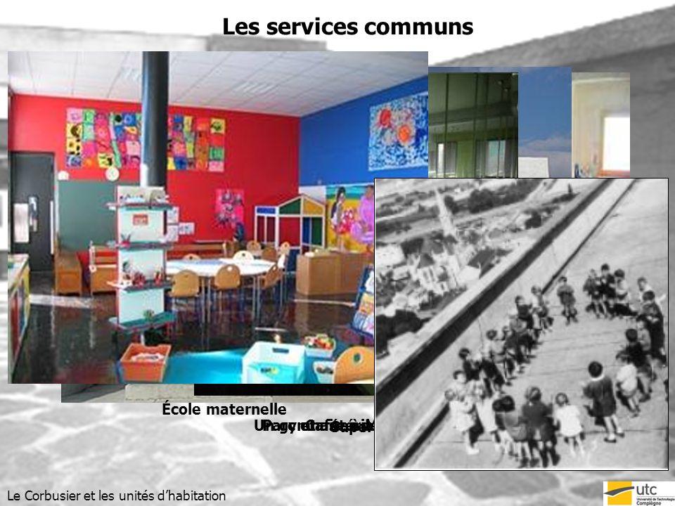 Un gymnase à Marseille Bibliothèque et salle de sport Cafétéria Superette Les services communs Le Corbusier et les unités dhabitation Parc et aires de