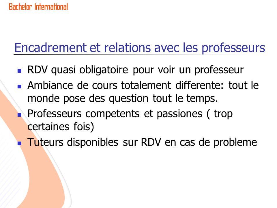 Encadrement et relations avec les professeurs RDV quasi obligatoire pour voir un professeur Ambiance de cours totalement differente: tout le monde pose des question tout le temps.