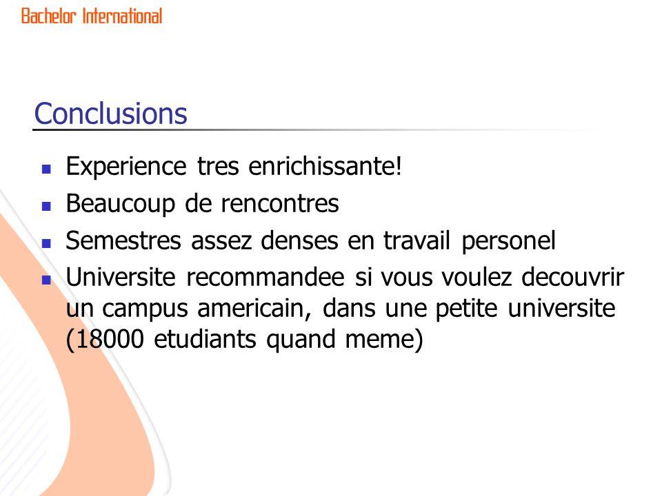 Conclusions Experience tres enrichissante.