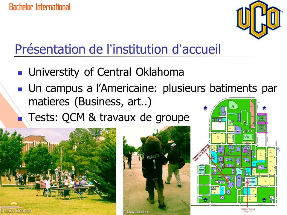 Présentation de linstitution daccueil Universtity of Central Oklahoma Un campus a lAmericaine: plusieurs batiments par matieres (Business, art..) Test