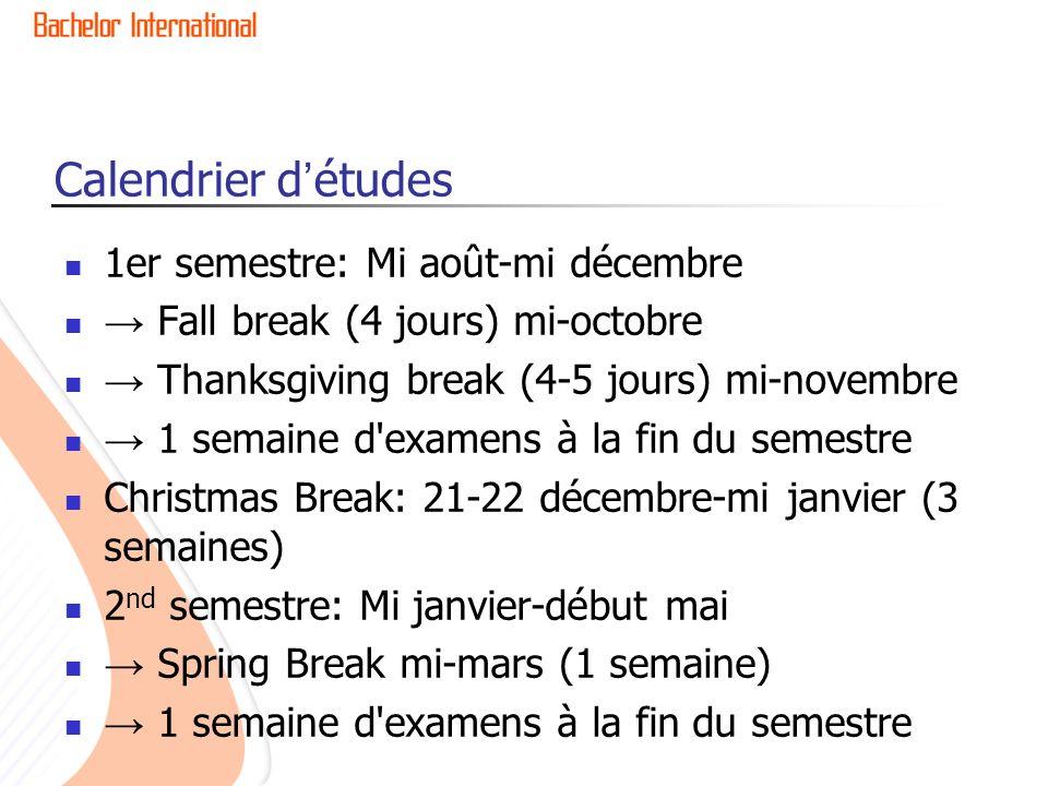 Calendrier détudes 1er semestre: Mi août-mi décembre Fall break (4 jours) mi-octobre Thanksgiving break (4-5 jours) mi-novembre 1 semaine d'examens à