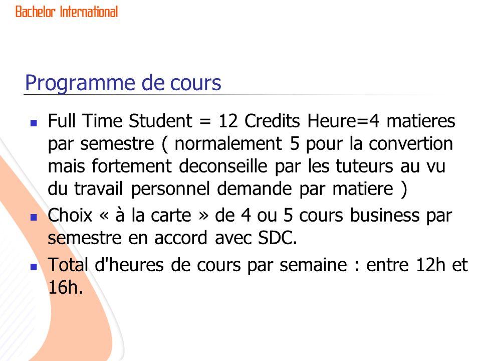 Programme de cours Full Time Student = 12 Credits Heure=4 matieres par semestre ( normalement 5 pour la convertion mais fortement deconseille par les
