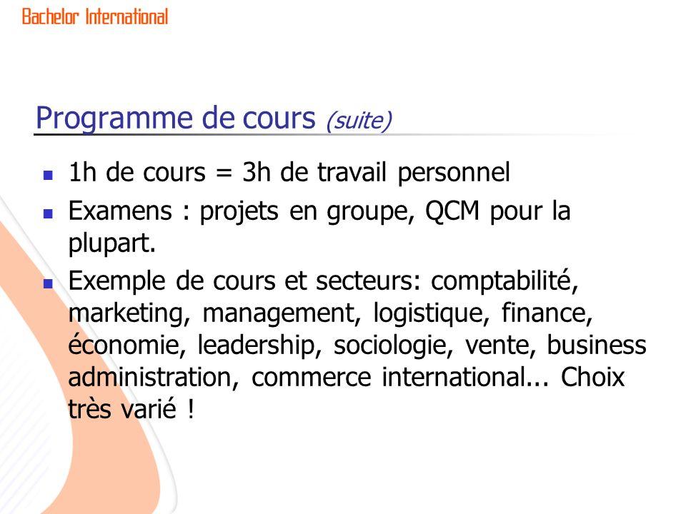 Programme de cours (suite) 1h de cours = 3h de travail personnel Examens : projets en groupe, QCM pour la plupart.