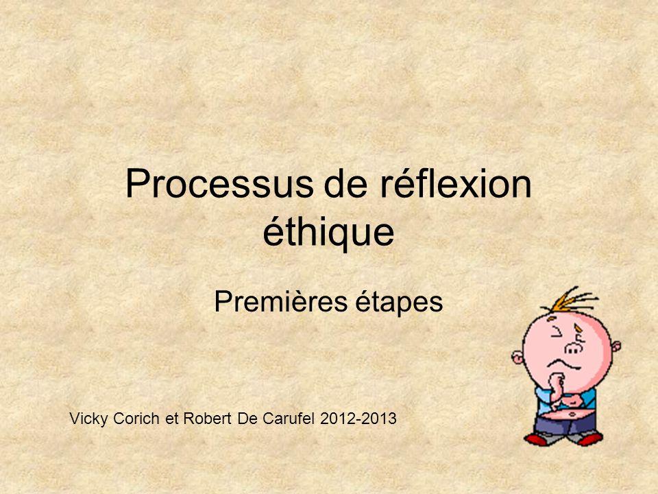 Processus de réflexion éthique Premières étapes Vicky Corich et Robert De Carufel 2012-2013