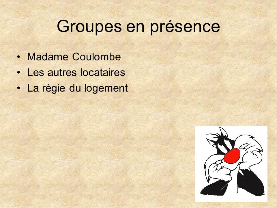 Groupes en présence Madame Coulombe Les autres locataires La régie du logement