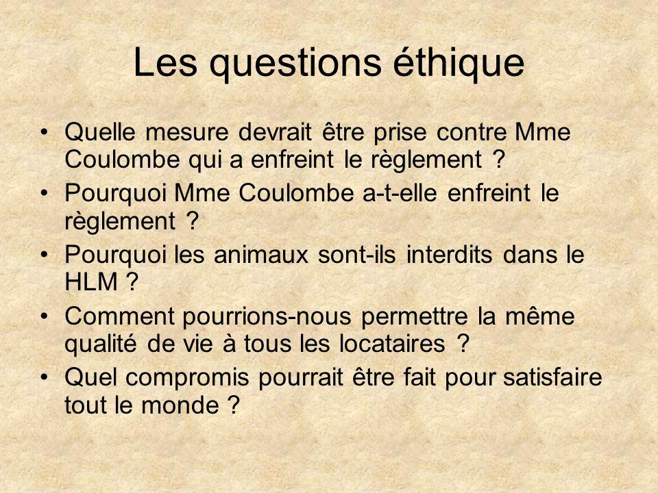 Les questions éthique Quelle mesure devrait être prise contre Mme Coulombe qui a enfreint le règlement ? Pourquoi Mme Coulombe a-t-elle enfreint le rè