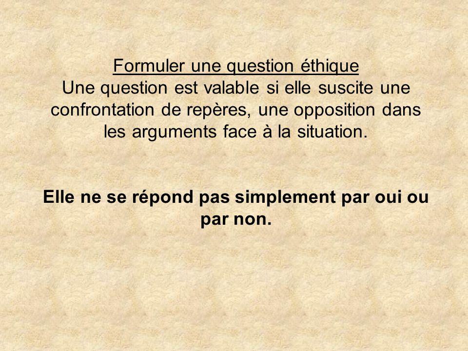 Formuler une question éthique Une question est valable si elle suscite une confrontation de repères, une opposition dans les arguments face à la situa
