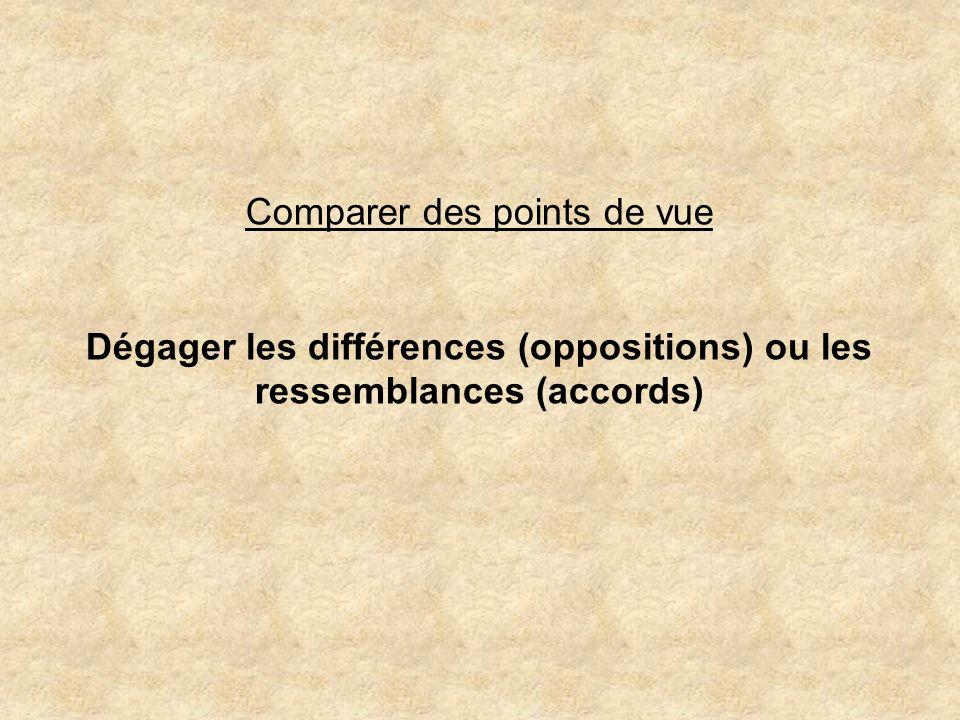 Comparer des points de vue Dégager les différences (oppositions) ou les ressemblances (accords)
