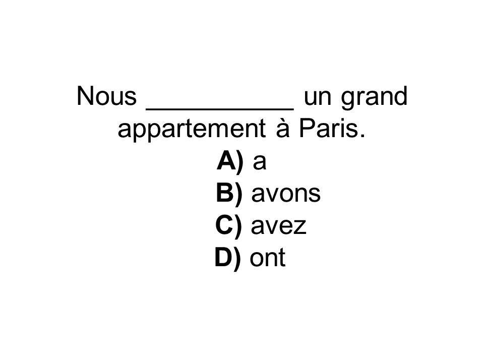 Nous __________ un grand appartement à Paris. A) a B) avons C) avez D) ont