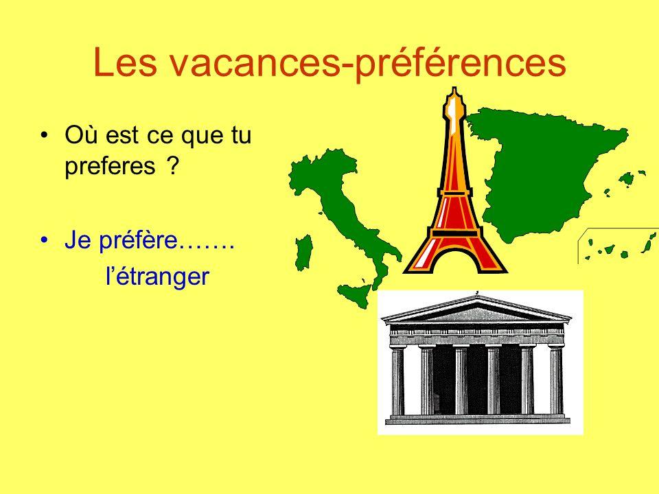 Les vacances-préférences Où est ce que tu preferes ? Je préfère……. létranger