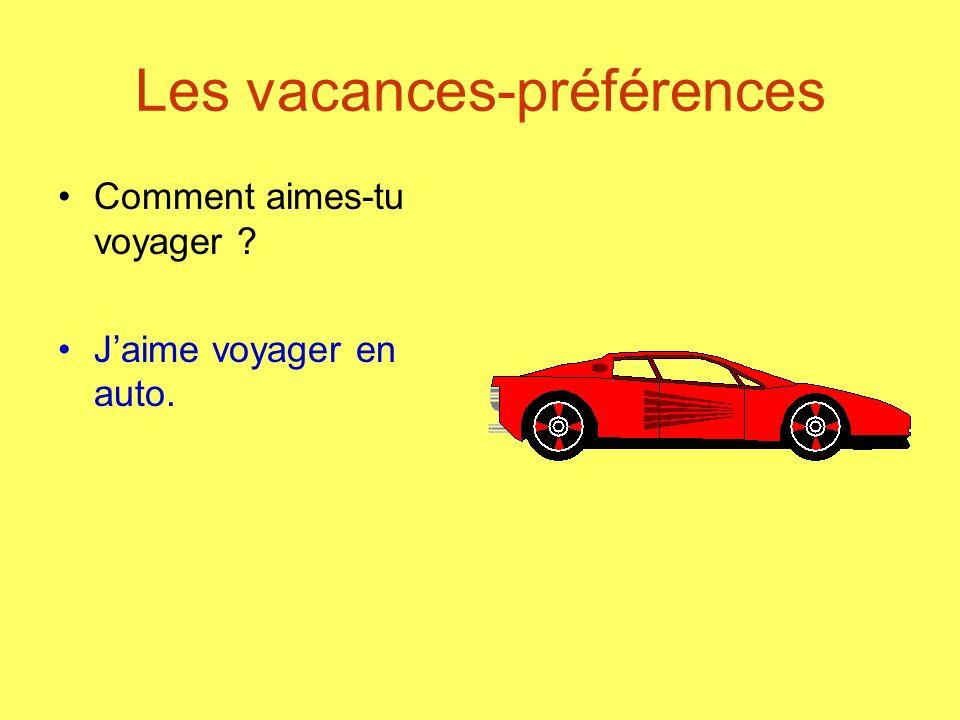 Les vacances-préférences Comment aimes-tu voyager ? Jaime voyager en auto.