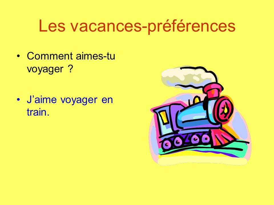 Les vacances-préférences Comment aimes-tu voyager ? Jaime voyager en train.