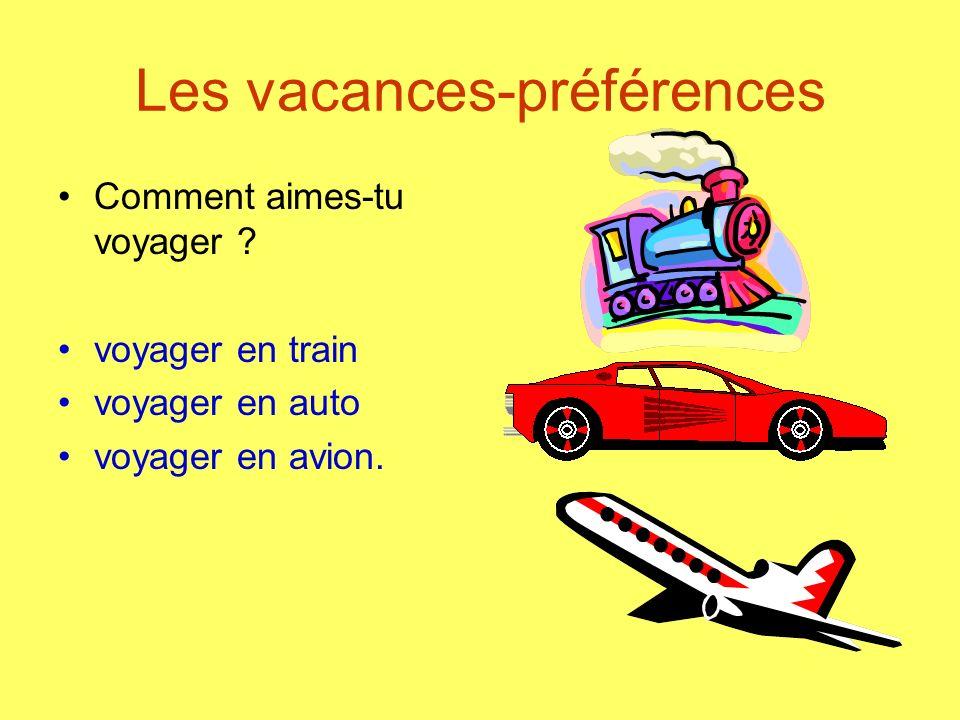 Les vacances-préférences Comment aimes-tu voyager ? voyager en train voyager en auto voyager en avion.