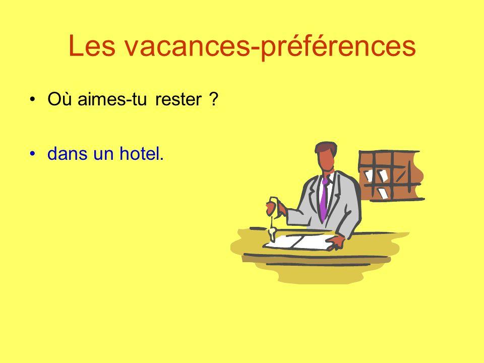 Les vacances-préférences Où aimes-tu rester ? dans un hotel.