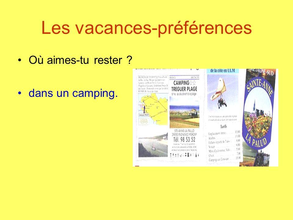 Les vacances-préférences Où aimes-tu rester ? dans un camping.