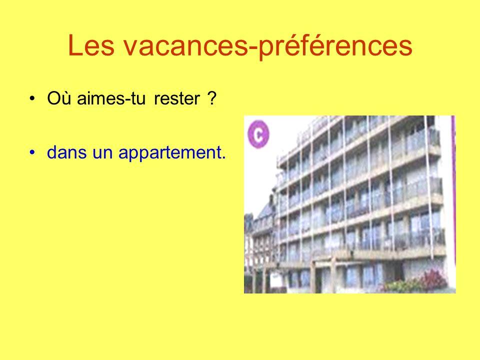 Les vacances-préférences Où aimes-tu rester ? dans un appartement.